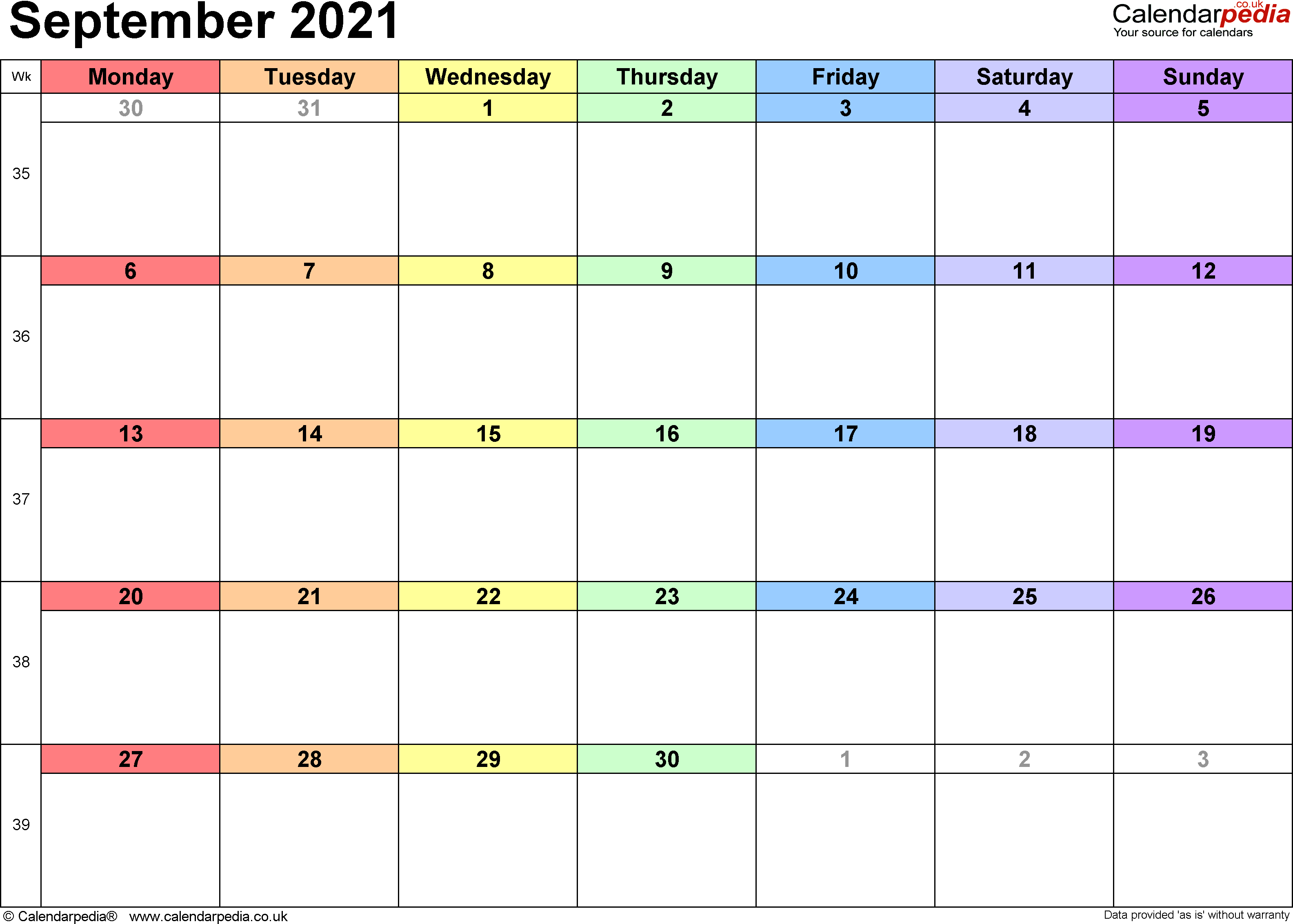 Calendar September 2021, landscape orientation, 1 page, with UK bank holidays and week numbers