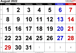 Calendar August 2022, landscape orientation, large numerals, 1 page, with UK bank holidays and week numbers