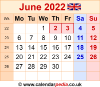 Calendar June 2022 as a graphic/image file in PNG format