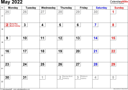Calendar May 2022, landscape orientation, small numerals, 1 page, with UK bank holidays and week numbers