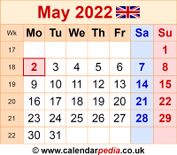 Calendar May 2022 as a graphic/image file in PNG format