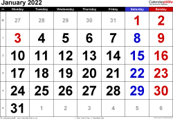 Calendar January 2022, landscape orientation, large numerals, 1 page, with UK bank holidays and week numbers