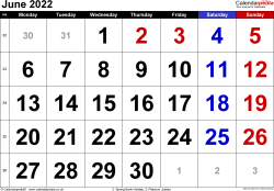 Calendar June 2022, landscape orientation, large numerals, 1 page, with UK bank holidays and week numbers