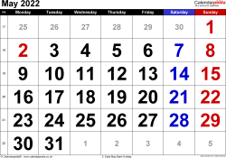 Calendar May 2022, landscape orientation, large numerals, 1 page, with UK bank holidays and week numbers