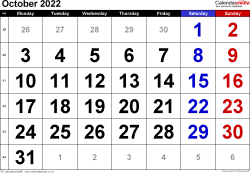 Calendar October 2022, landscape orientation, large numerals, 1 page, with UK bank holidays and week numbers