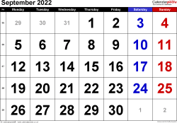 Calendar September 2022, landscape orientation, large numerals, 1 page, with UK bank holidays and week numbers
