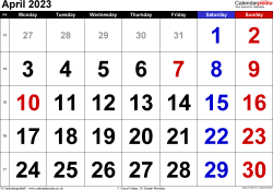 Calendar April 2023, landscape orientation, large numerals, 1 page, with UK bank holidays and week numbers
