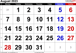Calendar August 2023, landscape orientation, large numerals, 1 page, with UK bank holidays and week numbers