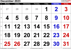 Calendar December 2023, landscape orientation, large numerals, 1 page, with UK bank holidays and week numbers