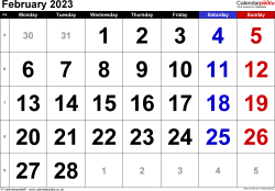 Calendar February 2023, landscape orientation, large numerals, 1 page, with UK bank holidays and week numbers
