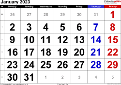 Calendar January 2023, landscape orientation, large numerals, 1 page, with UK bank holidays and week numbers