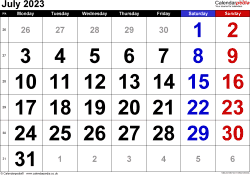 Calendar July 2023, landscape orientation, large numerals, 1 page, with UK bank holidays and week numbers