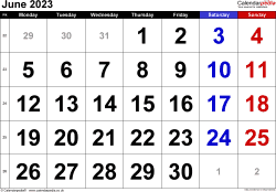 Calendar June 2023, landscape orientation, large numerals, 1 page, with UK bank holidays and week numbers