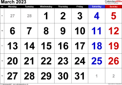 Calendar March 2023, landscape orientation, large numerals, 1 page, with UK bank holidays and week numbers