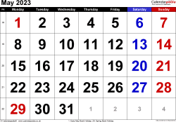 Calendar May 2023, landscape orientation, large numerals, 1 page, with UK bank holidays and week numbers