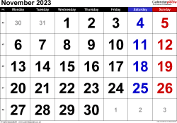 Calendar November 2023, landscape orientation, large numerals, 1 page, with UK bank holidays and week numbers