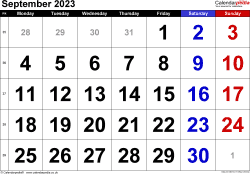 Calendar September 2023, landscape orientation, large numerals, 1 page, with UK bank holidays and week numbers