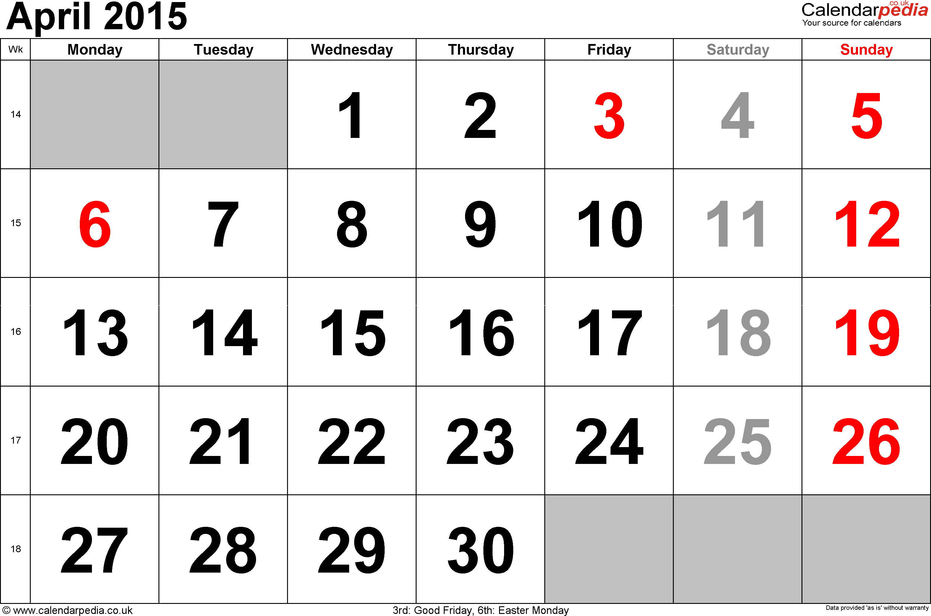 Calendar April 2015, landscape orientation, large numerals, 1 page, with UK bank holidays and week numbers