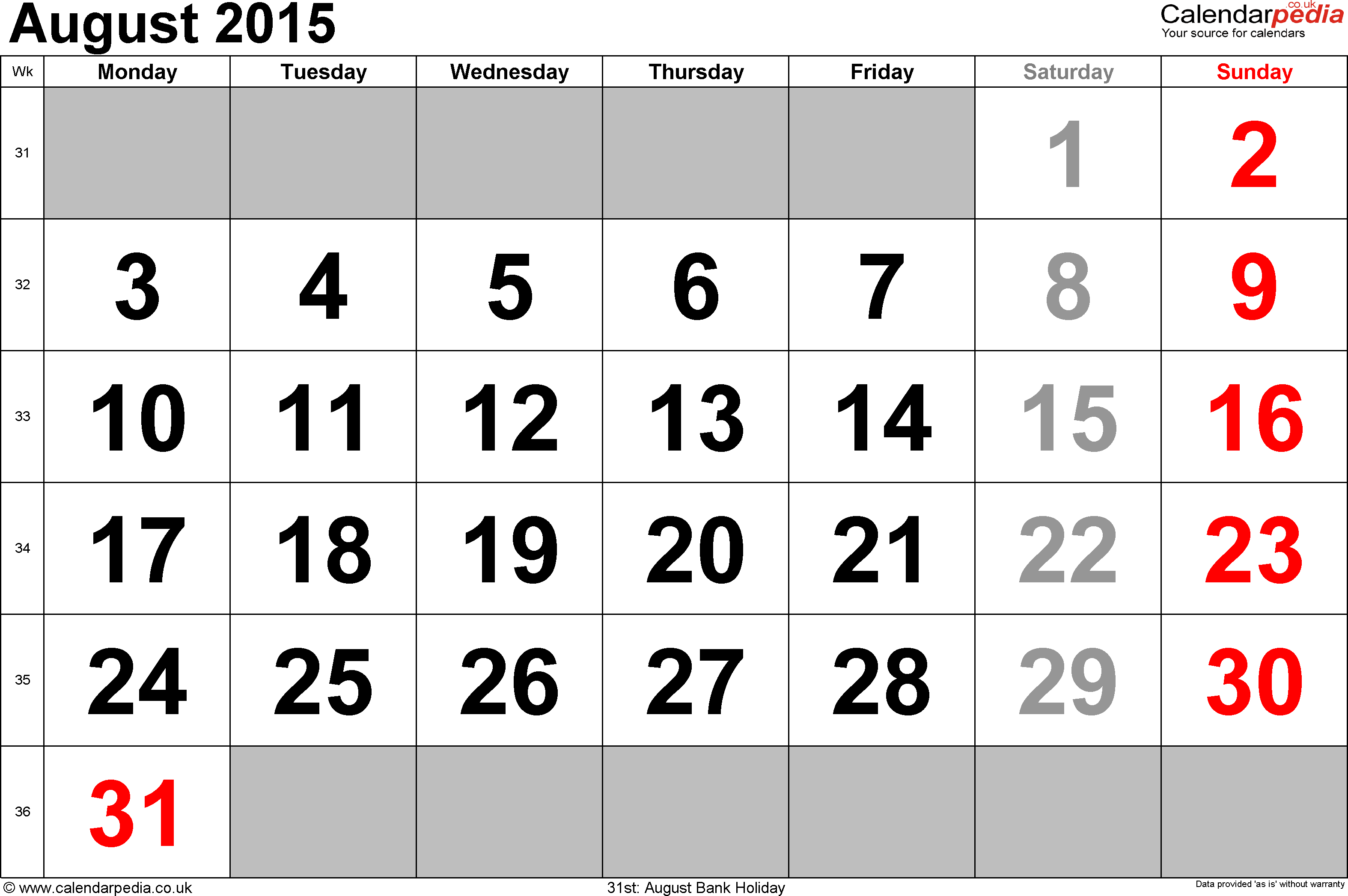 Calendar August 2015, landscape orientation, large numerals, 1 page, with UK bank holidays and week numbers