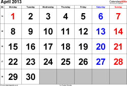 Calendar April 2013, landscape orientation, large numerals, 1 page, with UK bank holidays and week numbers