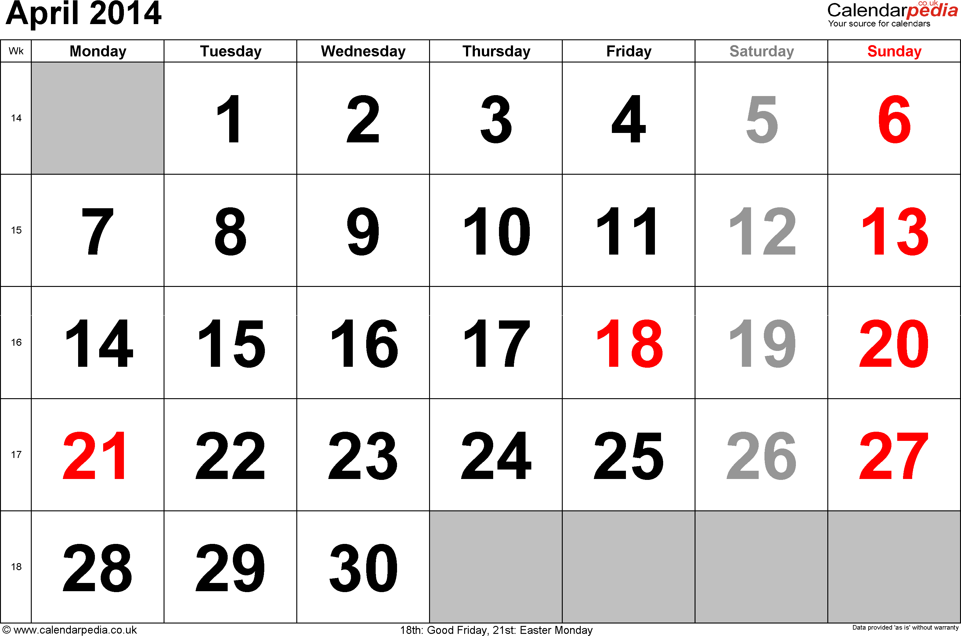 Calendar April 2014, landscape orientation, large numerals, 1 page, with UK bank holidays and week numbers