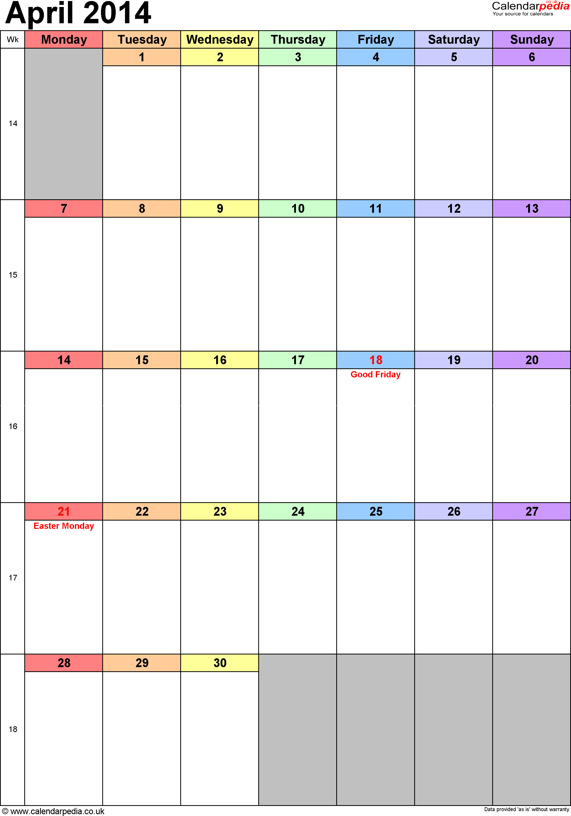Calendar April 2014 portrait orientation, 1 page, with UK bank holidays and week numbers