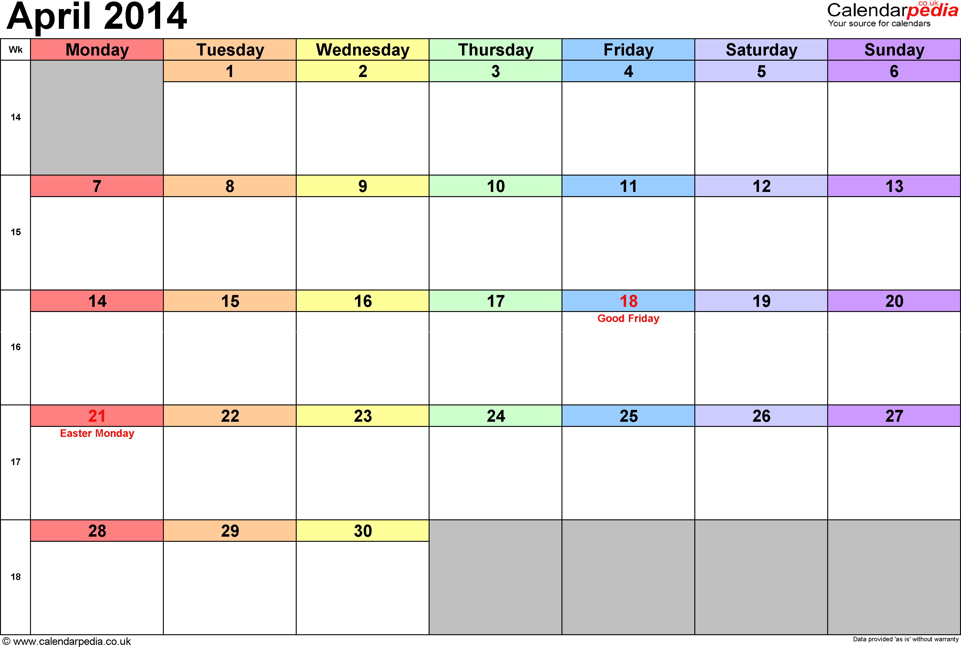 Calendar April 2014, landscape orientation, 1 page, with UK bank holidays and week numbers