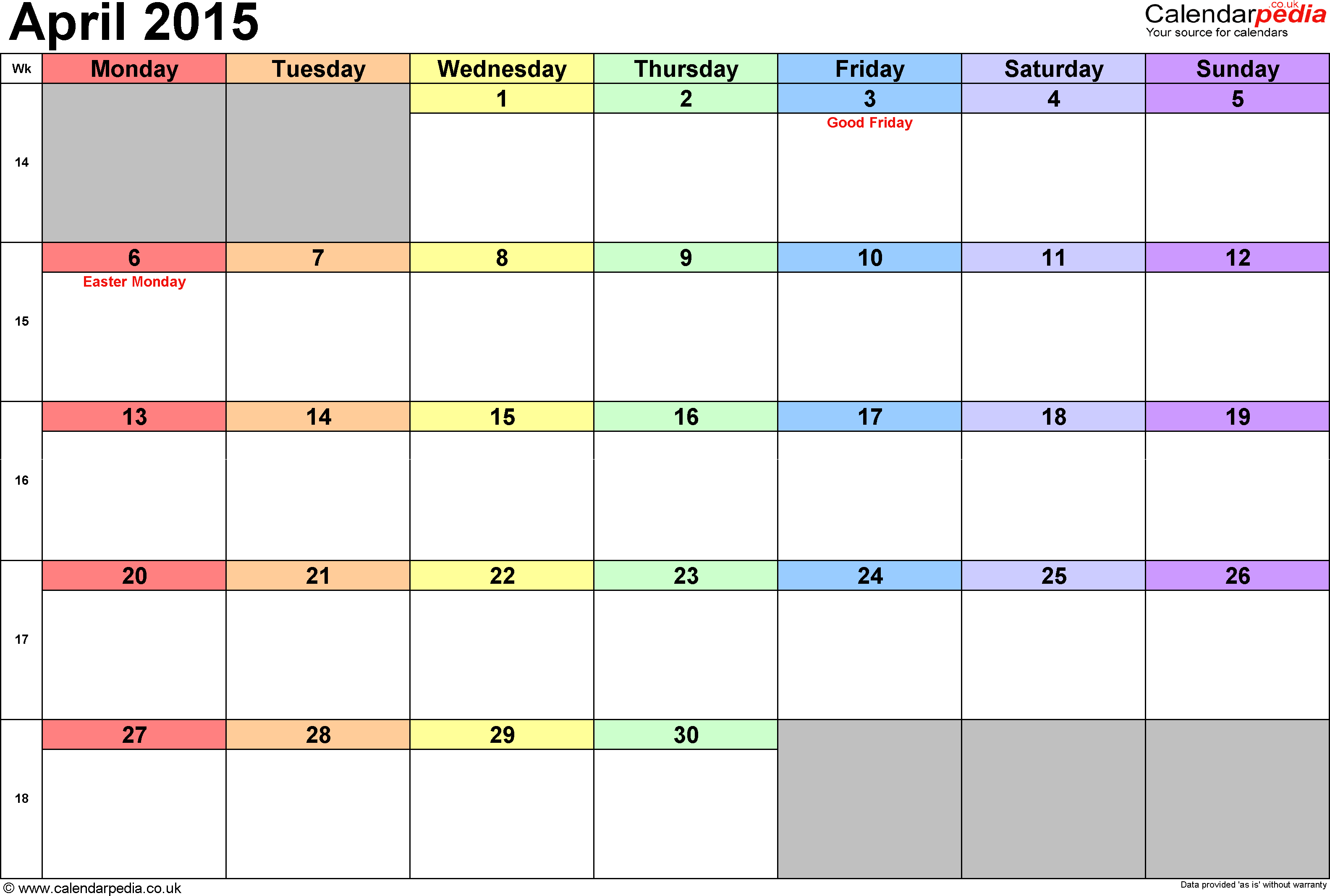Calendar April 2015, landscape orientation, 1 page, with UK bank holidays and week numbers