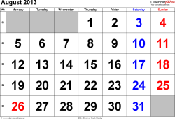 Calendar August 2013, landscape orientation, large numerals, 1 page, with UK bank holidays and week numbers