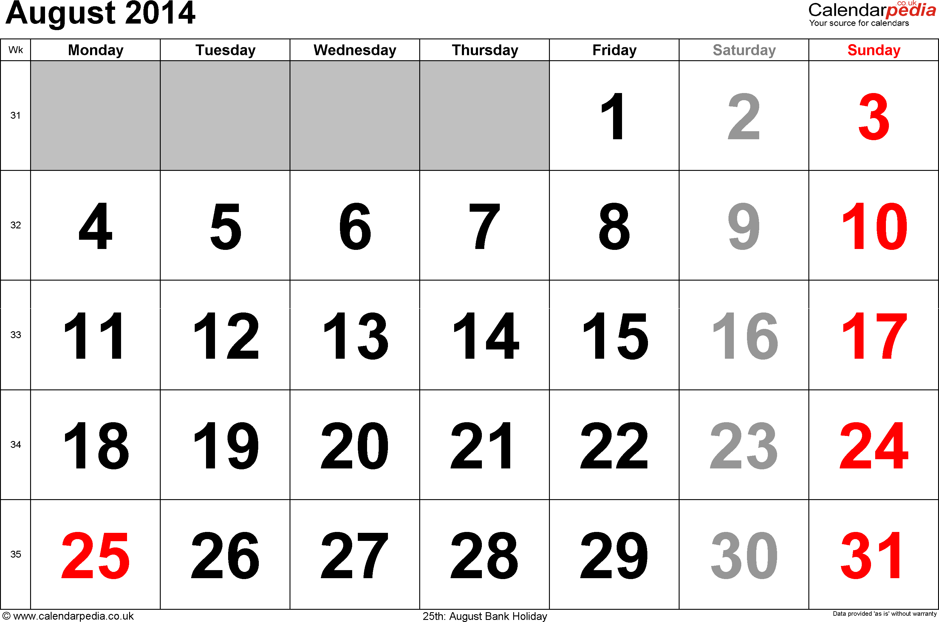 Calendar August 2014, landscape orientation, large numerals, 1 page, with UK bank holidays and week numbers