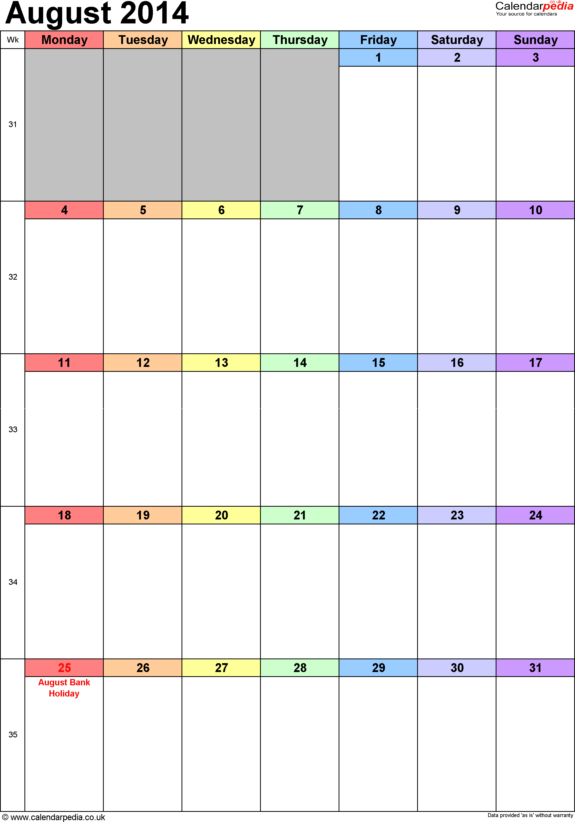 Calendar August 2014 portrait orientation, 1 page, with UK bank holidays and week numbers