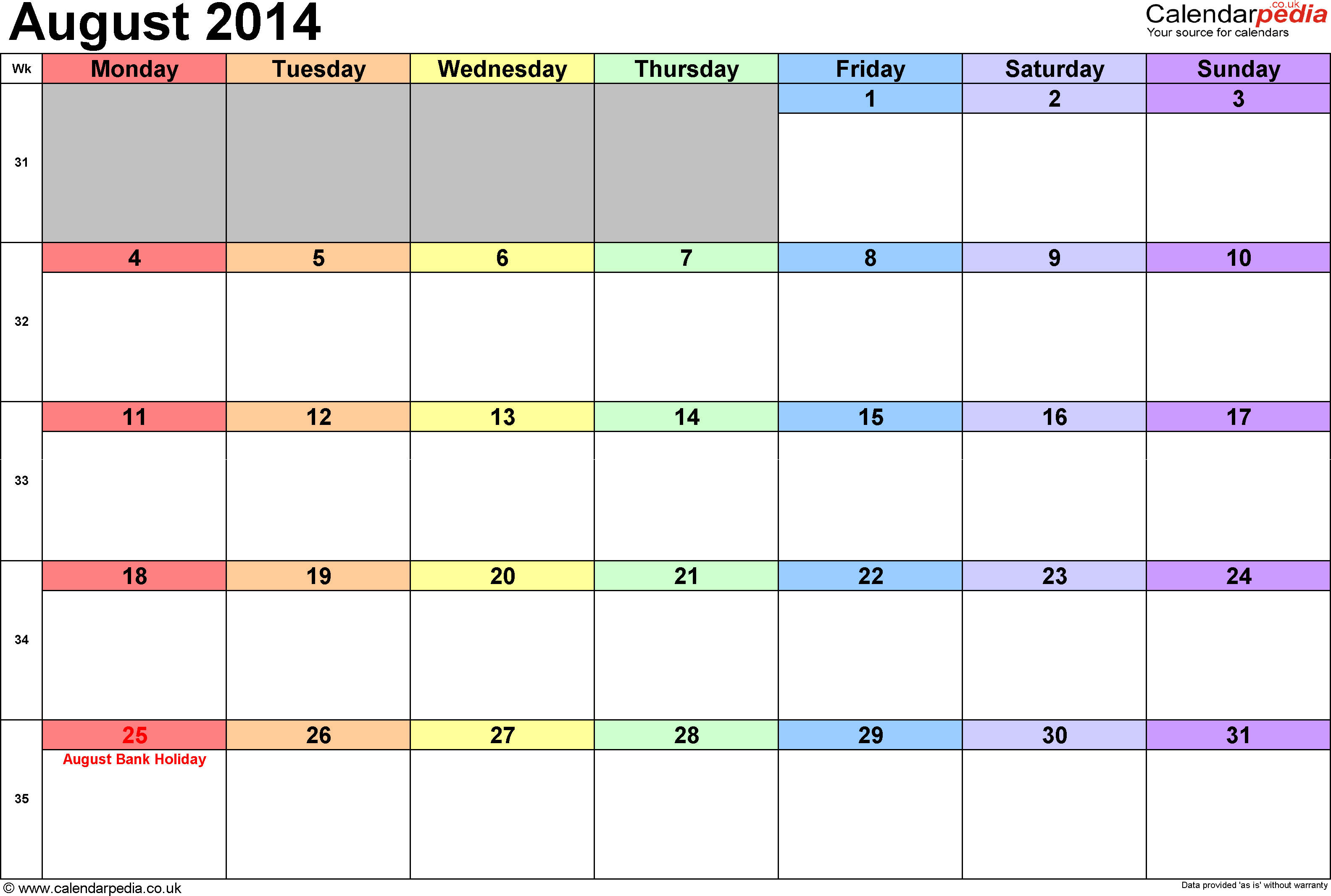 Calendar August 2014, landscape orientation, 1 page, with UK bank holidays and week numbers