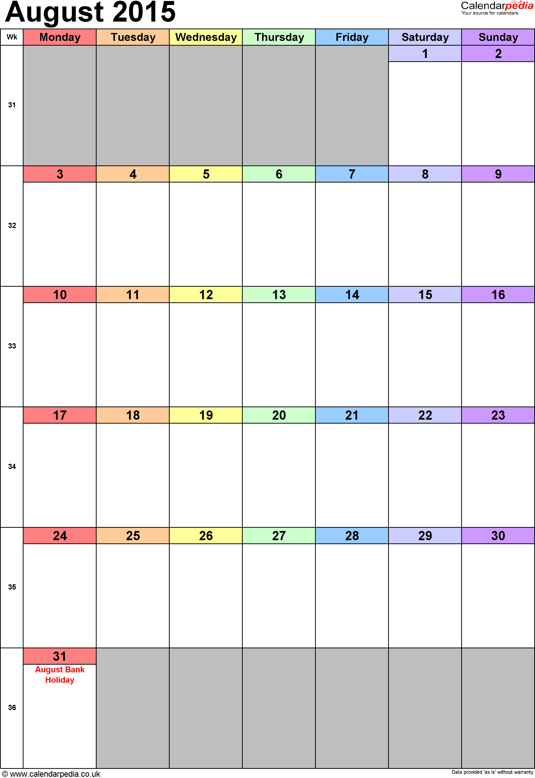 Calendar August 2015 portrait orientation, 1 page, with UK bank holidays and week numbers