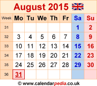 Calendar August 2015 as a graphic/image file in PNG format