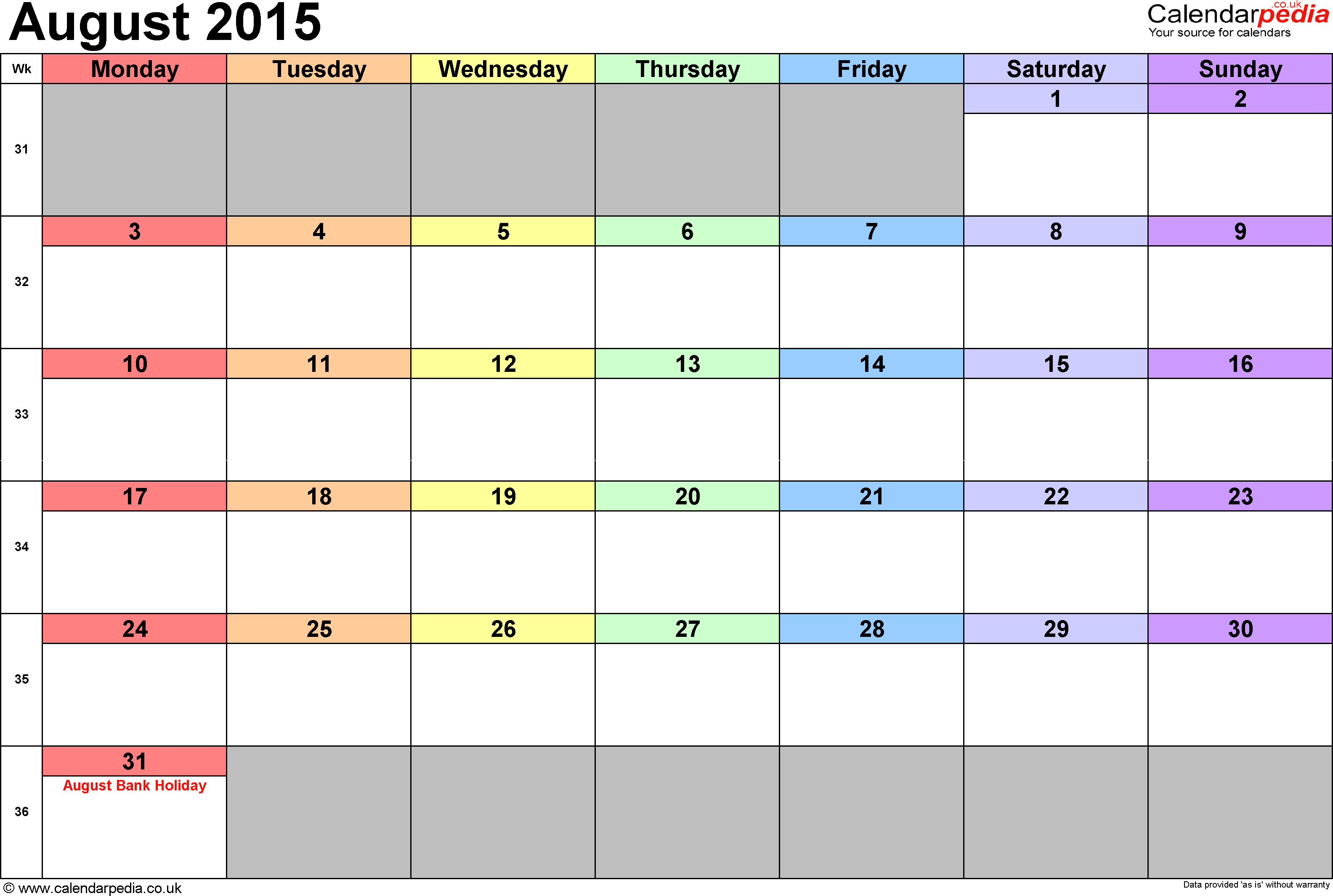 Calendar August 2015, landscape orientation, 1 page, with UK bank holidays and week numbers
