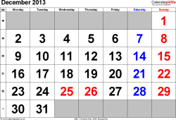 Calendar December 2013, landscape orientation, large numerals, 1 page, with UK bank holidays and week numbers
