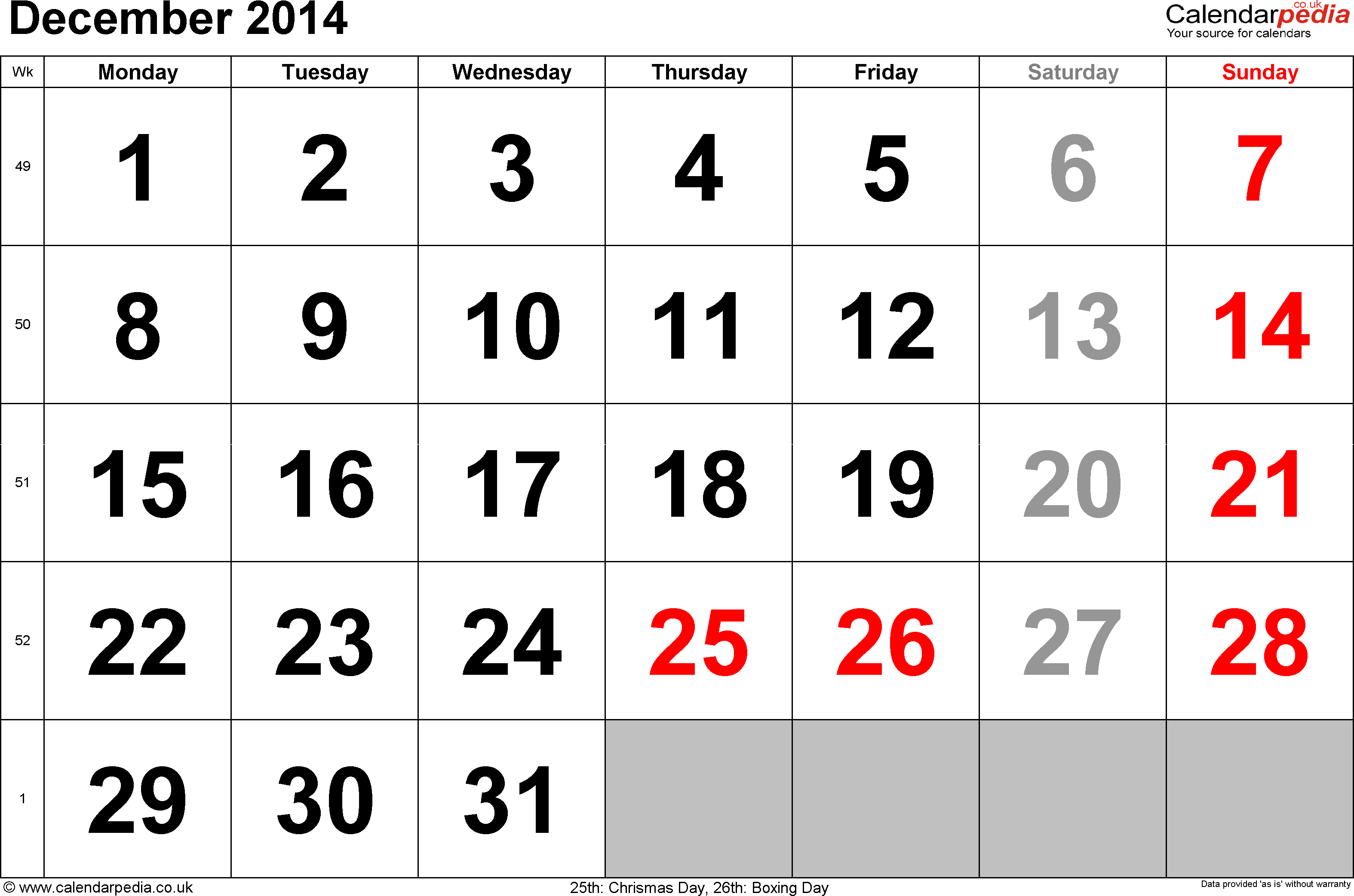 Calendar December 2014, landscape orientation, large numerals, 1 page, with UK bank holidays and week numbers