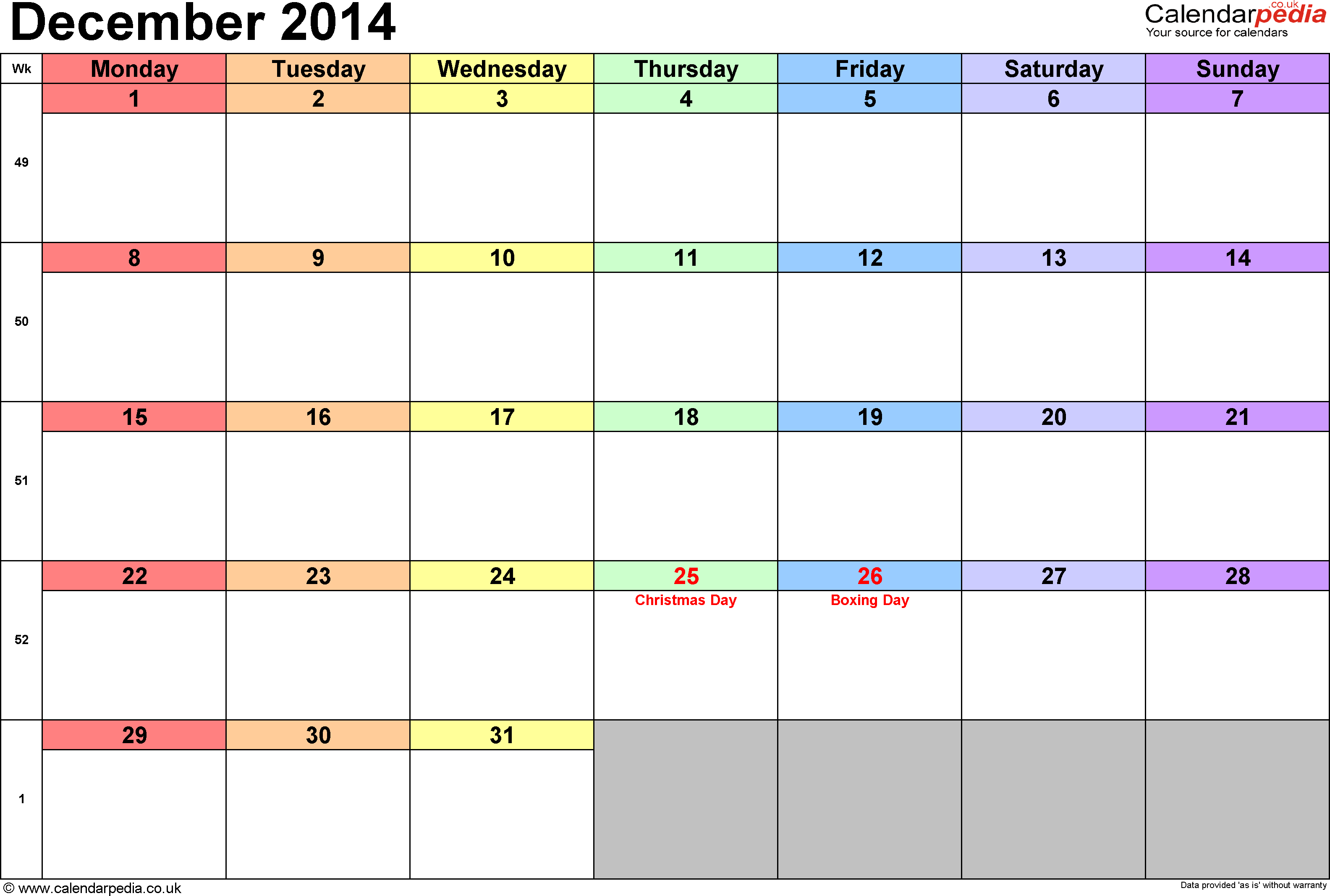 Calendar December 2014, landscape orientation, 1 page, with UK bank holidays and week numbers