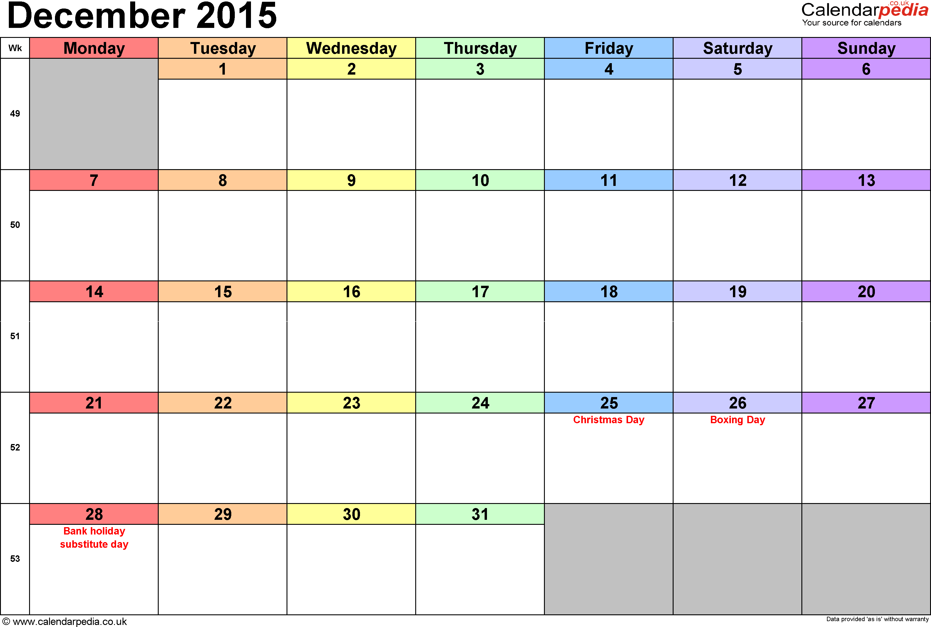 Calendar December 2015, landscape orientation, 1 page, with UK bank holidays and week numbers