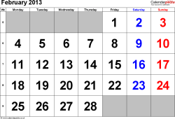 Calendar February 2013, landscape orientation, large numerals, 1 page, with UK bank holidays and week numbers