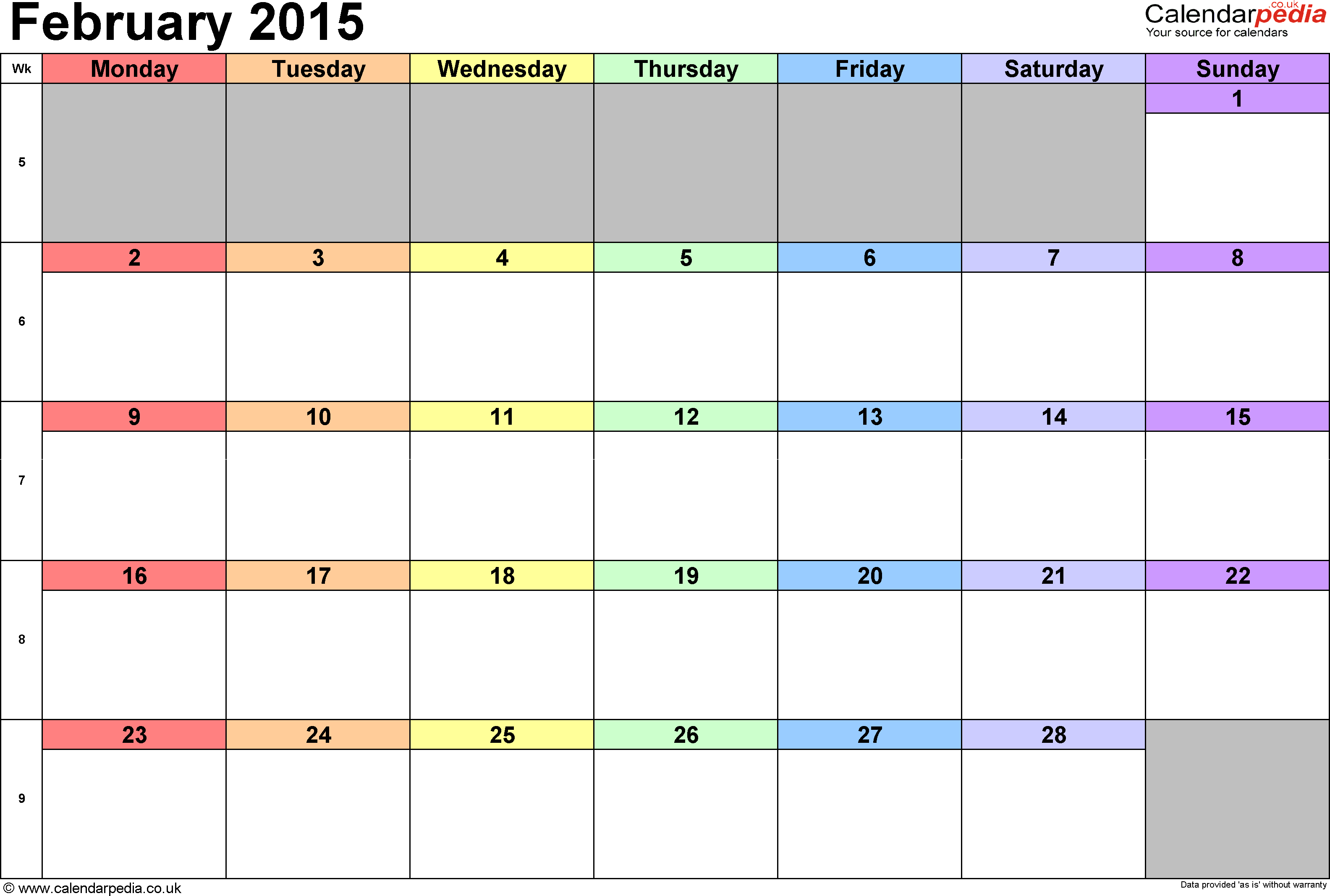 Calendar February 2015, landscape orientation, 1 page, with UK bank holidays and week numbers