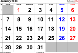 Calendar January 2013, landscape orientation, large numerals, 1 page, with UK bank holidays and week numbers