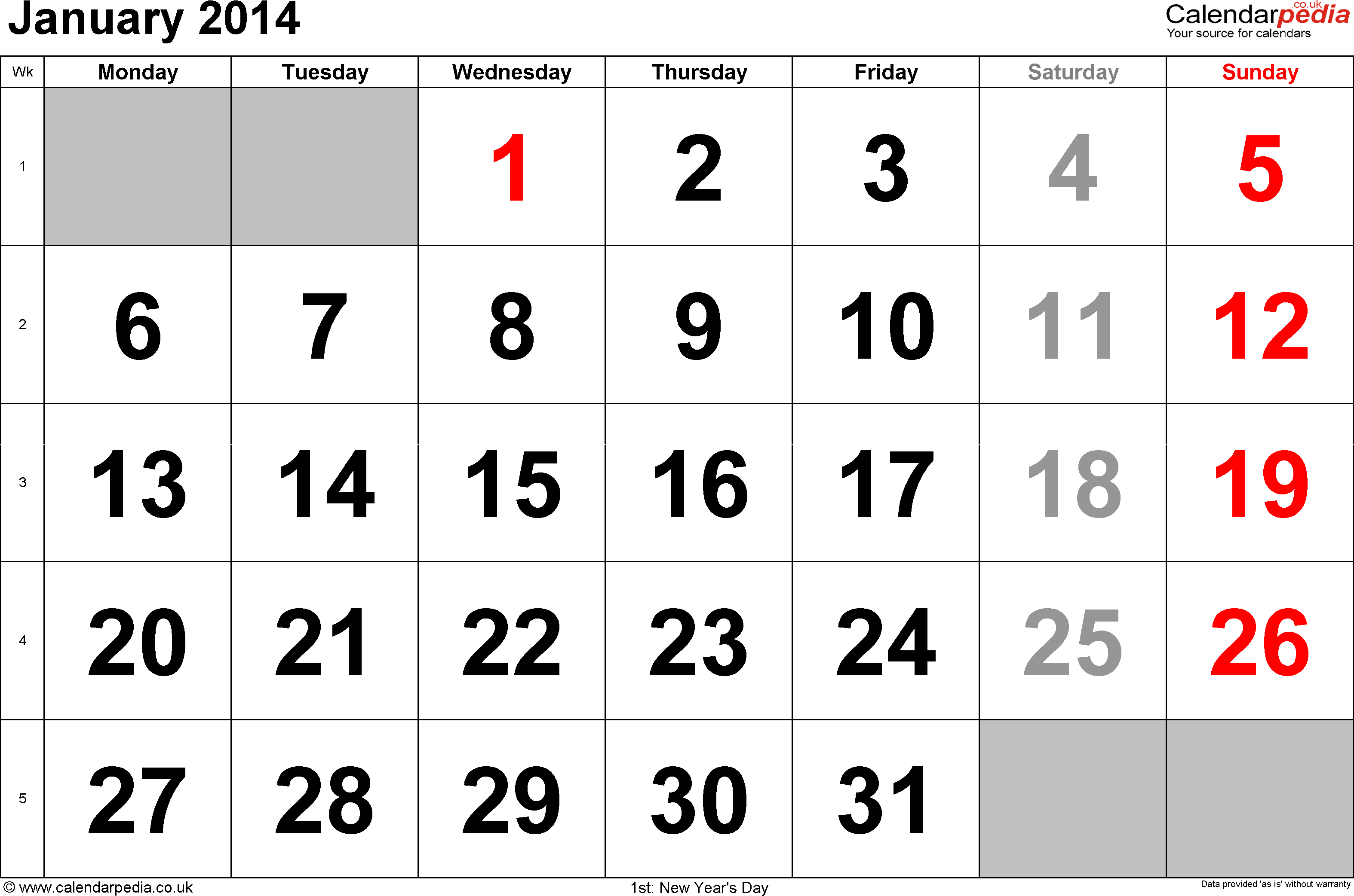 Calendar January 2014, landscape orientation, large numerals, 1 page, with UK bank