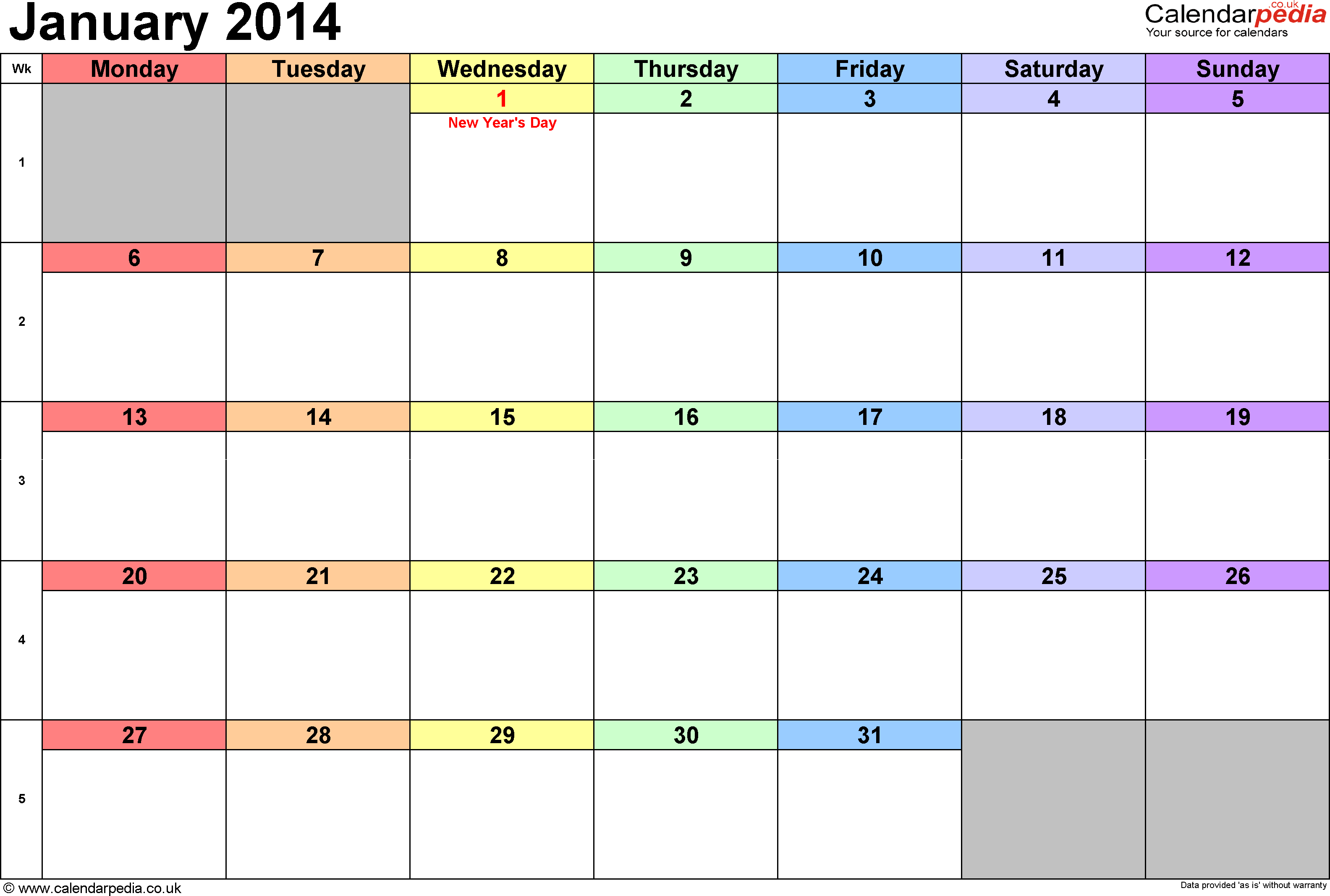 Calendar January 2014, landscape orientation, 1 page, with UK bank holidays and week numbers