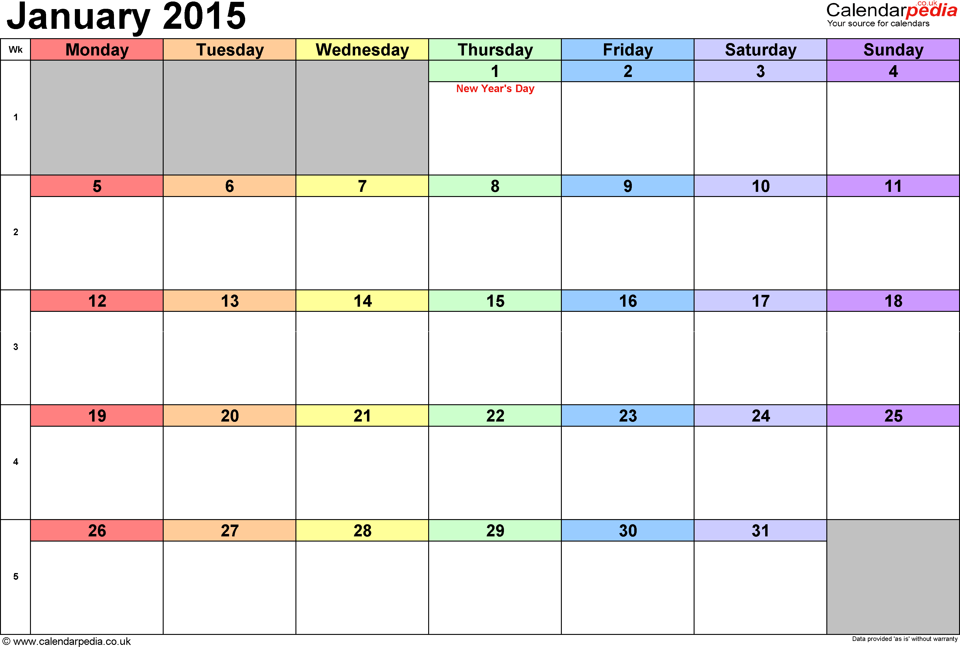 Calendar January 2015, landscape orientation, 1 page, with UK bank holidays and week numbers