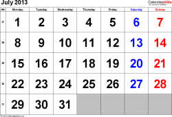 Calendar July 2013, landscape orientation, large numerals, 1 page, with UK bank holidays and week numbers