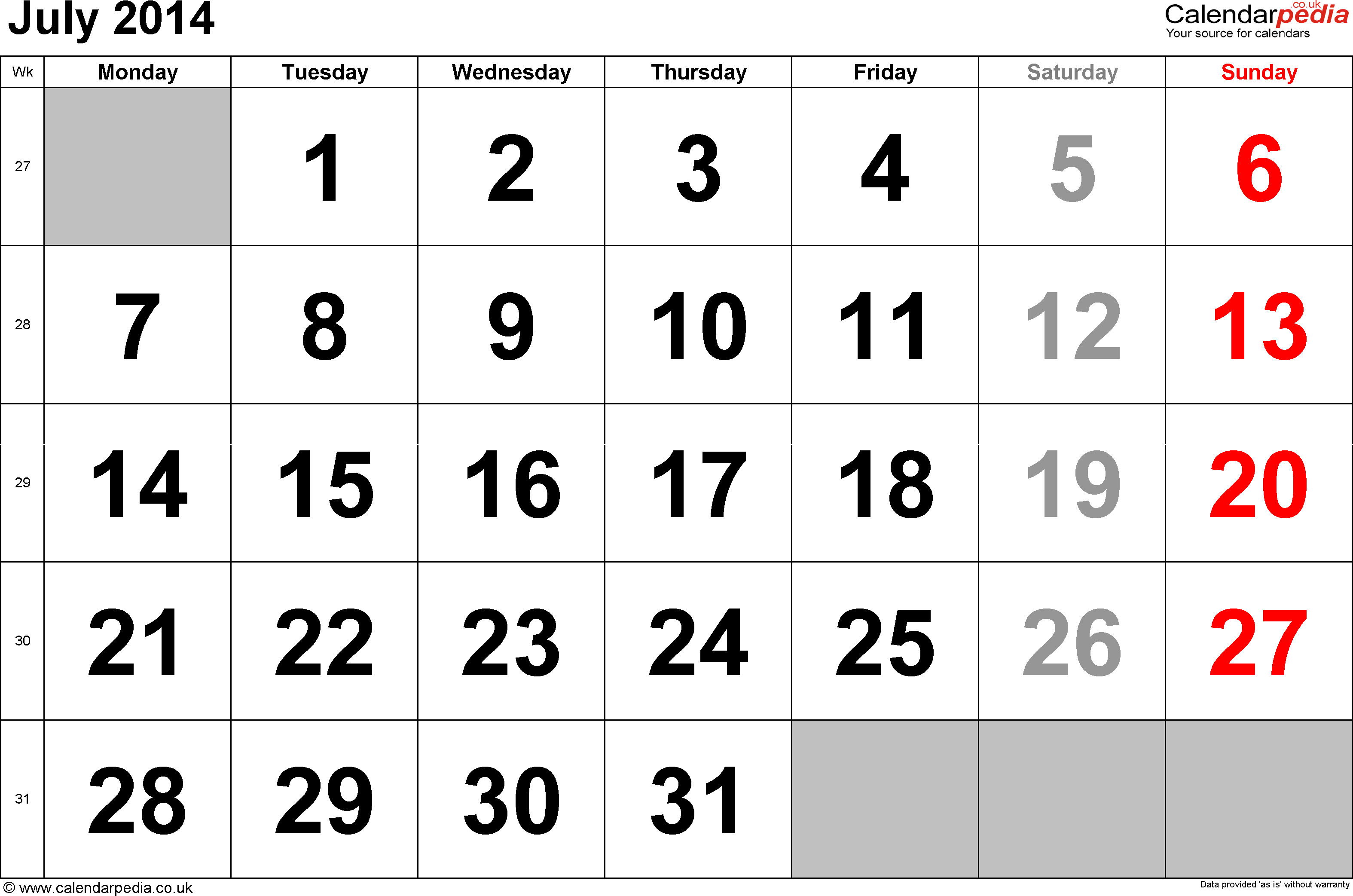 Calendar July 2014, landscape orientation, large numerals, 1 page, with UK bank holidays and week numbers