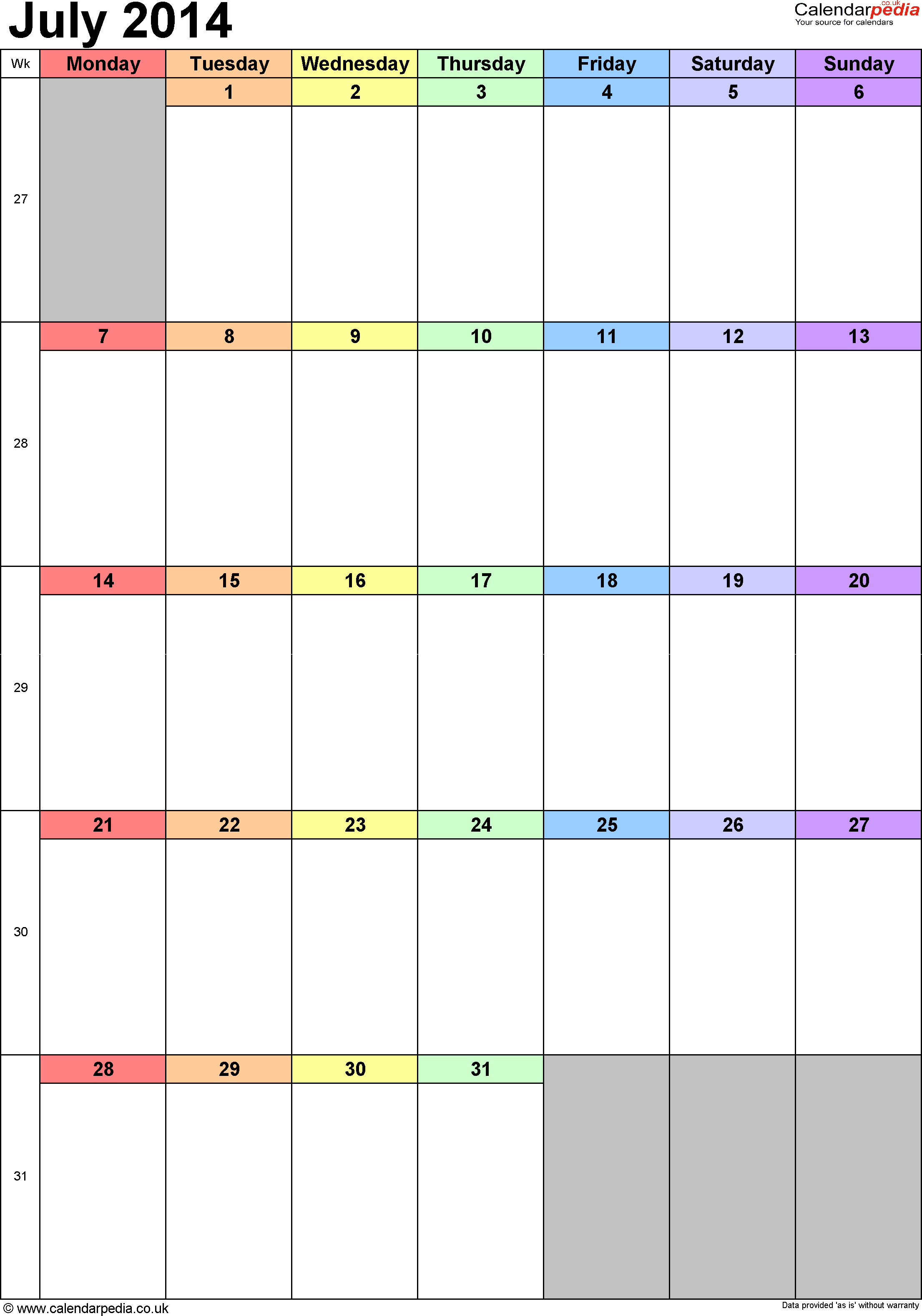 Calendar July 2014 portrait orientation, 1 page, with UK bank holidays and week numbers