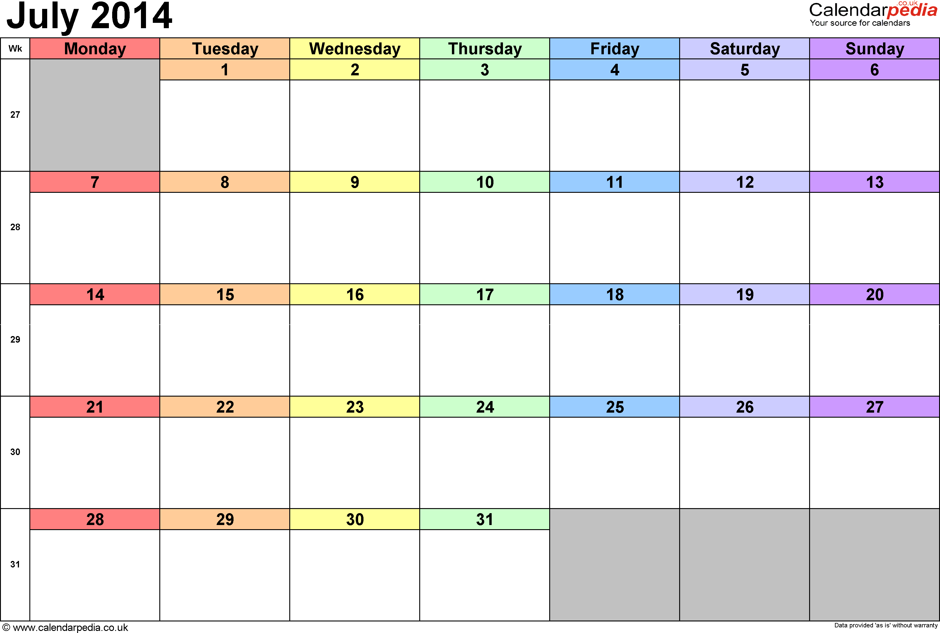 Calendar July 2014, landscape orientation, 1 page, with UK bank holidays and week numbers