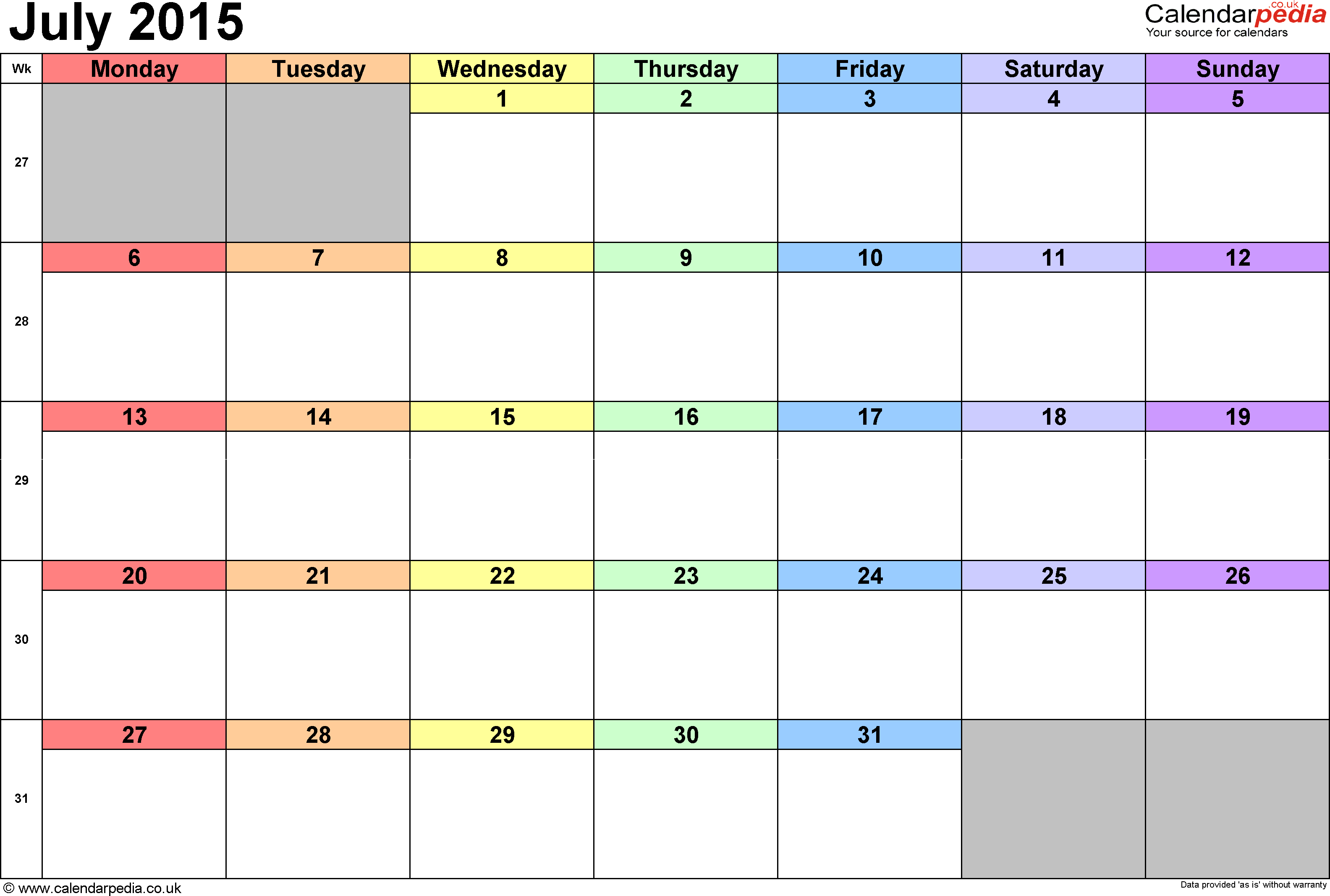 Calendar July 2015, landscape orientation, 1 page, with UK bank holidays and week numbers